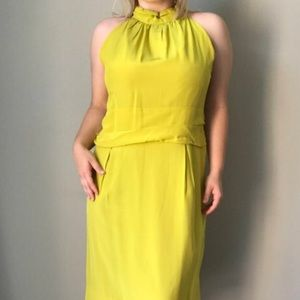 Dresses & Skirts - 1970s Chartreuse Halter Neck Cocktail Dress